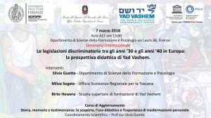 Seminario internazionale Le legislazioni discriminatorie tra gli anni '30 e gli anni '40 in Europa: la prospettiva didattica di Yad Vashem